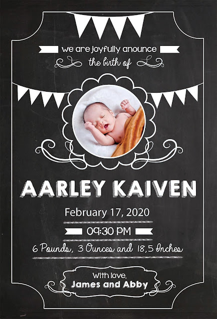 Baby Announcement Cards | Birth Announcement Cards BA-CARD 006