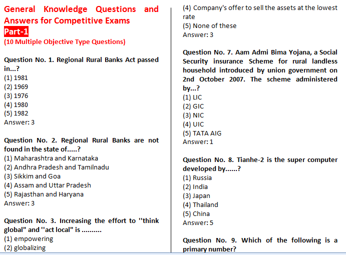 General knowledge questions answers  Coursework Sample
