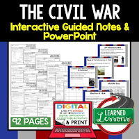 The Civil War, American History Guided Notes, American History Interactive Notebook, Google and Print, American History Note Taking, American History PowerPoints, American History Anticipatory Guides