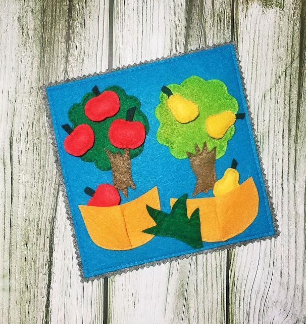"""фетровая страничка-развивашка для детей """"в саду"""""""