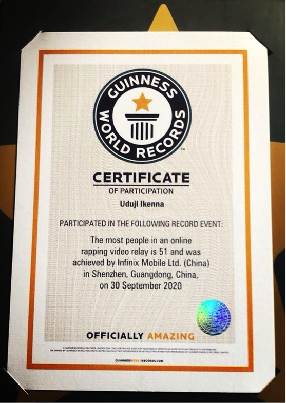 Infinix features 51 rappers and bags a GUINNESS WORLD RECORD for Most people In An Online Rapping Relay #Arewapublisize
