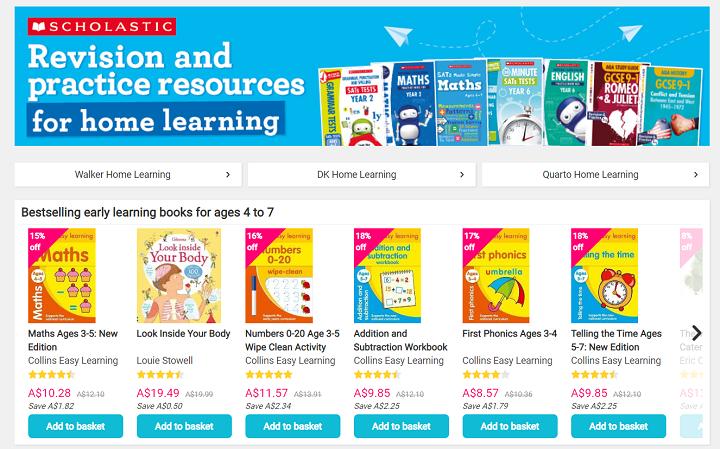 Book depository home learning hub screenshot
