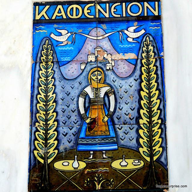 Placa de um café na Ilha de Spétses, Grécia