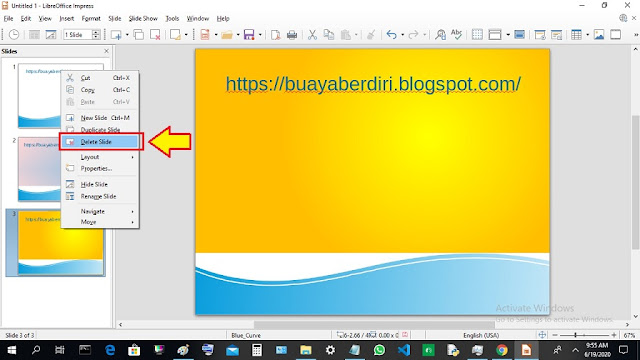 Delete Slide - Cara menghapus slide di Libre Office Impress Presentation