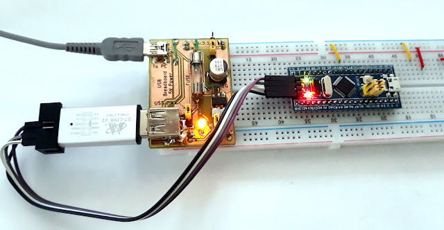 Using the USB power supply for programming a STM32 board