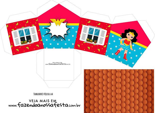 Cumpleaños de la Mujer Maravilla: Cajas con Forma de Casa para Imprimir Gratis.