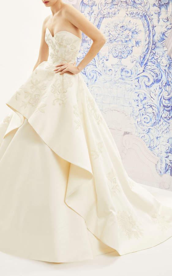 Carolina Herrera Bridal Ivonne Strapless Silk Ballgown with floral Embroidered Tiered Skirt