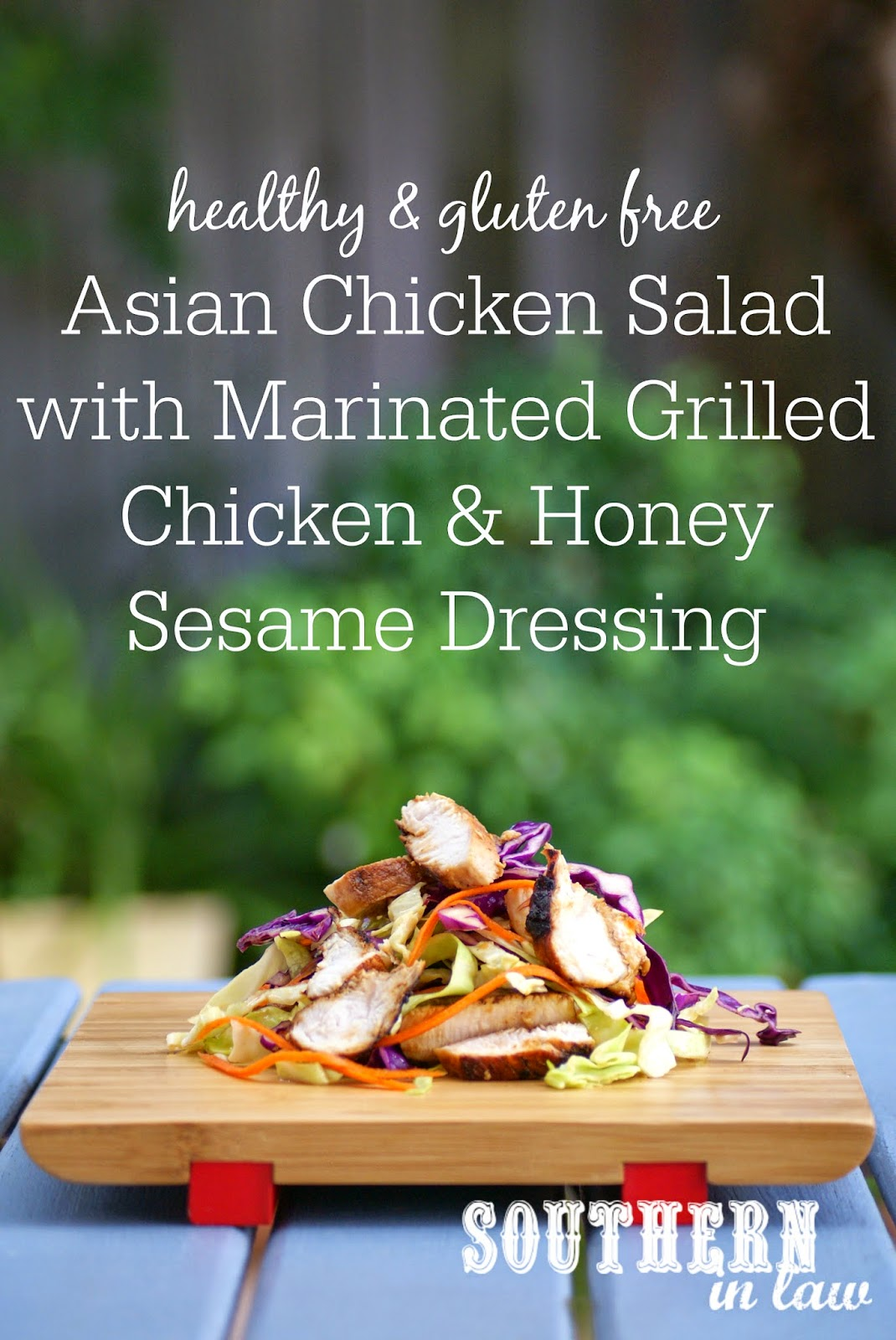 Low Fat Asian Chicken Salad with Marinated Chicken Breast and Honey Sesame Dressing Recipe - low fat, gluten free, clean eating friendly, grain free, paleo