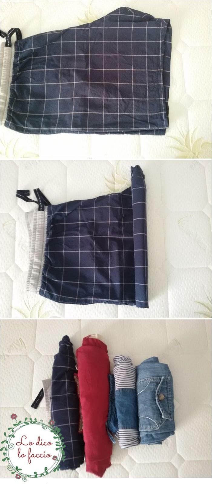 come piegare pantaloni per la valigia