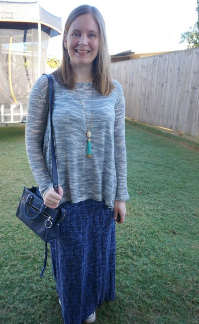 maxi dress layered in winter with micro bedford bag slouchy knit blue dress | away from blue
