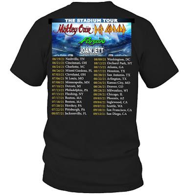 Motley Crue Def Leppard Poison Joan Jett Stadium Tour 2021 T Shirts