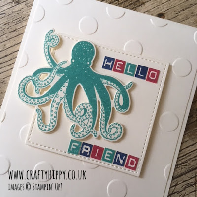 This image shows a handmade card with a green octopus and the words 'hello friend' and is made with the Sea of Textures and Labeler Alphabet stamp sets from Stampin' Up!