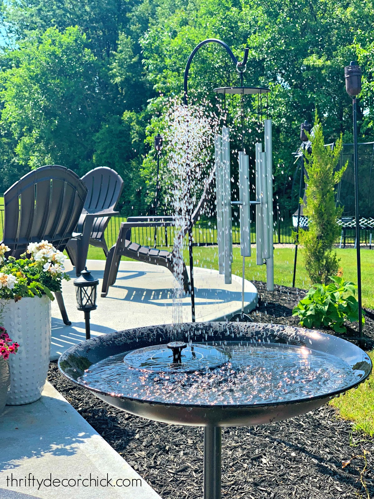 Solar fountain for water feature outside