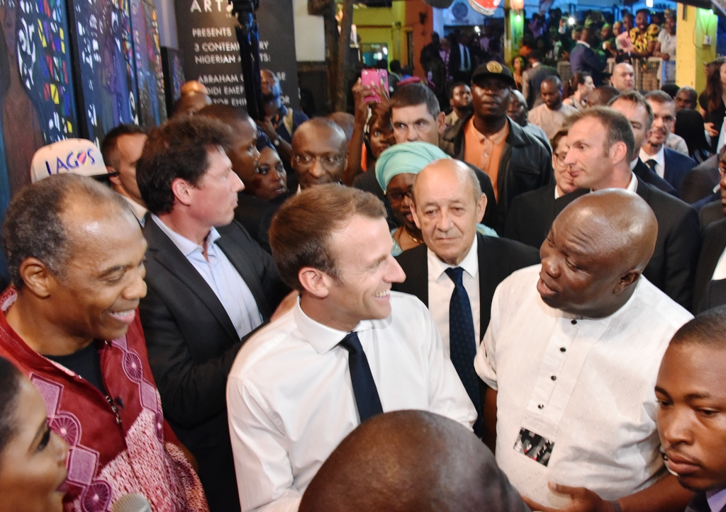 Image result for photos of french president at shrine