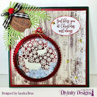 Stamp/Die Duos: Deer Ornament, Custom Dies:  Scalloped Circles,  Scalloped Ovals, Pinecones & Pine Branches, Paper Collection: Rustic Christmas