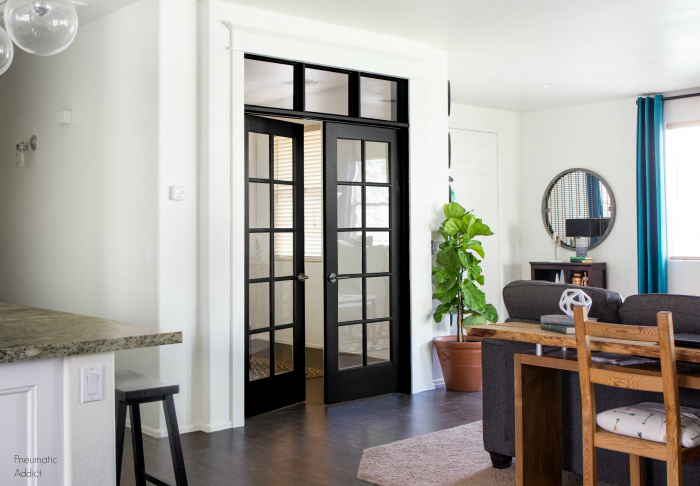 black and white french doors with DIY transom window how to