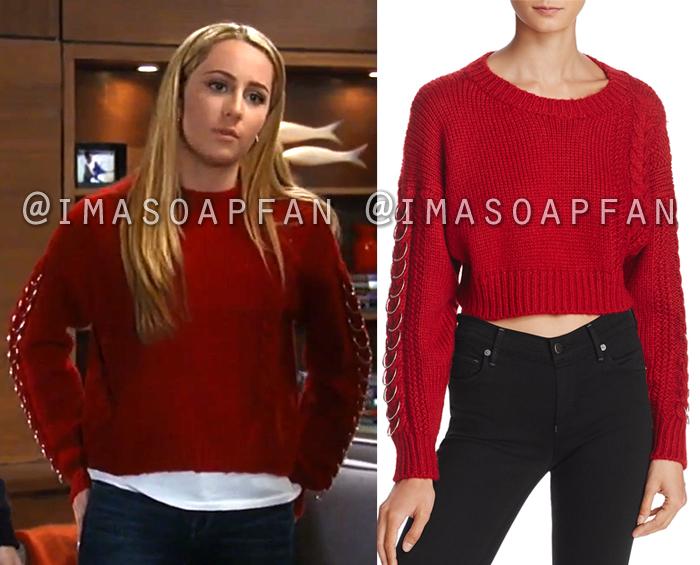 Josslyn Jacks, Eden McCoy, Red Sweater with Ring Hardware, General Hospital, GH