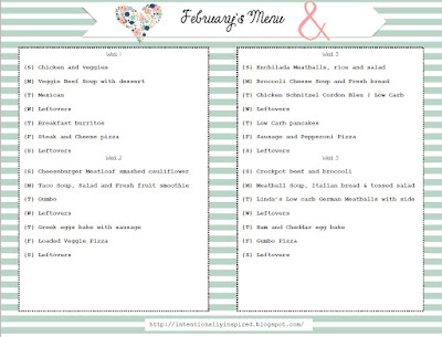 Free February Menu Planners Printables. 5 menu planning tips for newbies