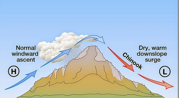 What causes Chinook winds graph