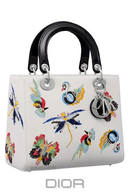 ♦Dior Lady Dior white animal embroidered calfskin top handle bag with classic and iconic silver Dior charms #dior #bags #ladydior #brilliantluxury