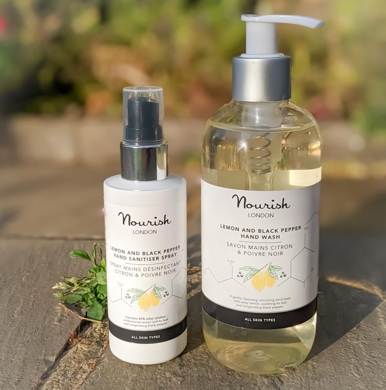 Nourish London Lemon and Black Pepper Hand Sanitiser Spray and Hand Wash