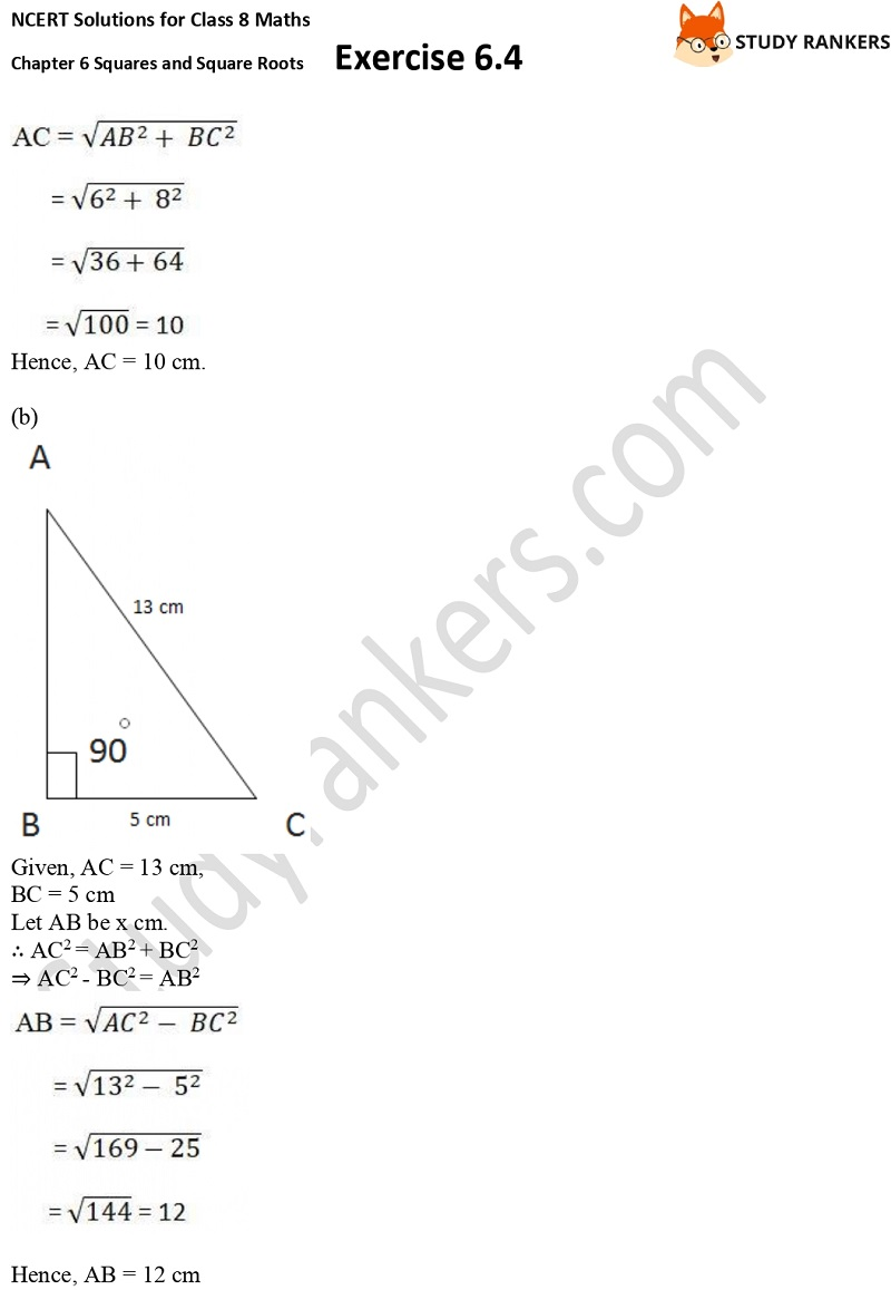 NCERT Solutions for Class 8 Maths Ch 6 Squares and Square Roots Exercise 6.4 19