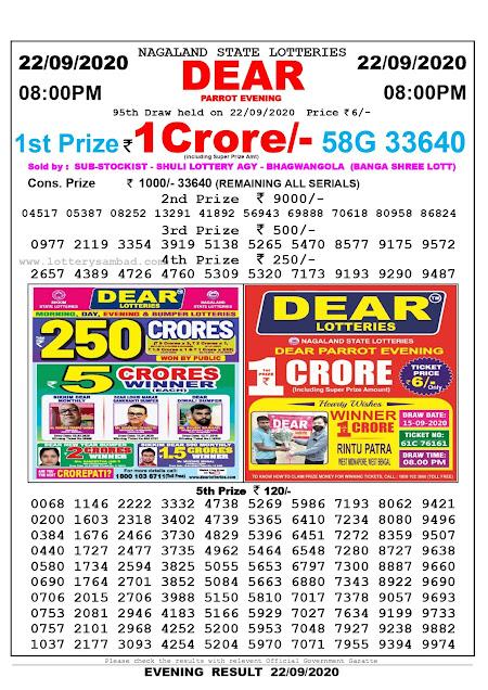 Lottery Sambad Today 22.09.2020 Dear Parrot Evening 8:00 pm