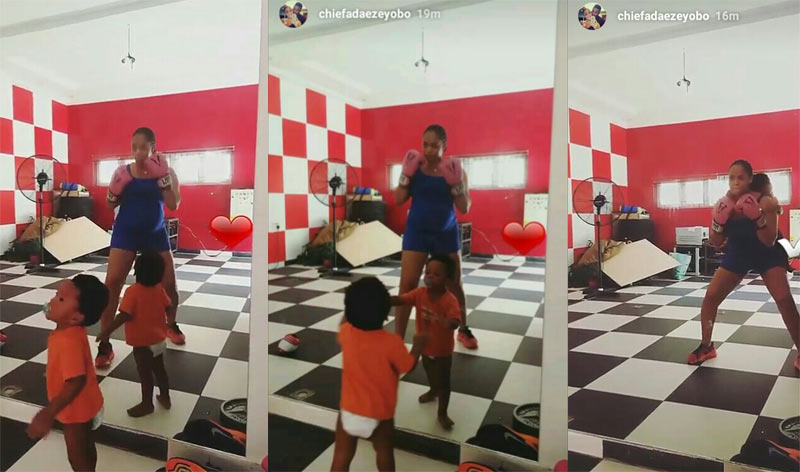 Pregnant Adaeze Yobo keeps fit by boxing