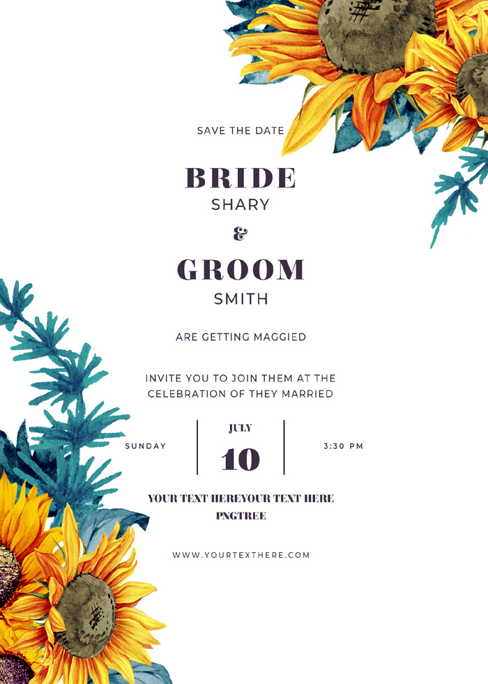 High Fashion Watercolor Art Sunflower Wedding Invitation