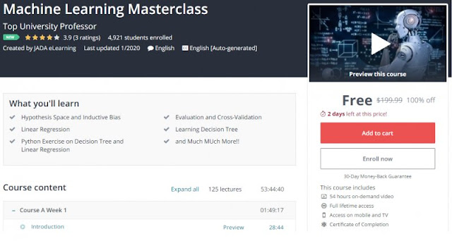 [100% Off] Machine Learning Masterclass| Worth 199,99$