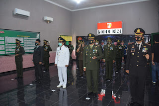 Gelar upacara HUT TNI ke 75 Secara Virtual