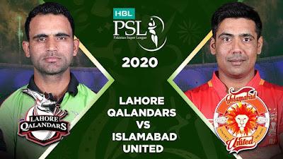 Lahore Qalandar Vs Islamabad United Live PSL Match