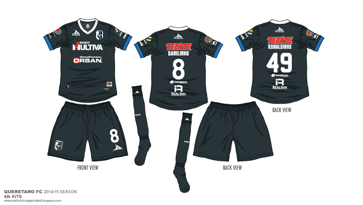 793387e3898 I'm continue, the Liga M club Querétaro FC, 2014-15 season Pirma sportswear  fourth kits. The Gallos Blancos with the all black and blue cuff with a  ribbed ...