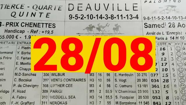 programme quinté+ Pronostic quinté samedi 28/08/2021