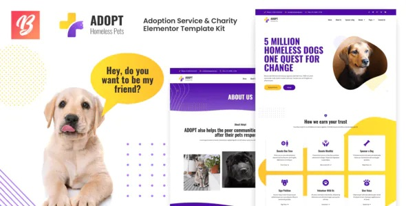 Adoption Service & Charity Elementor Template Kit