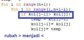 kode bubble sort descending python