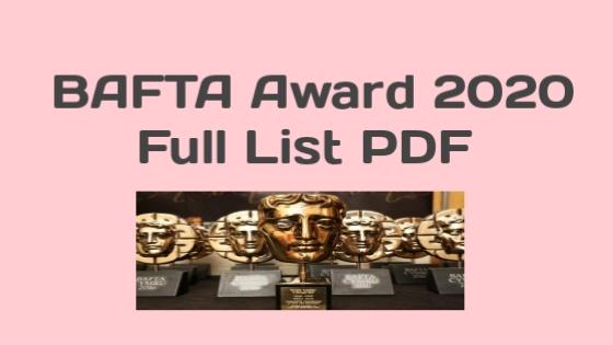 BAFTA Award 2020 Winner List PDF
