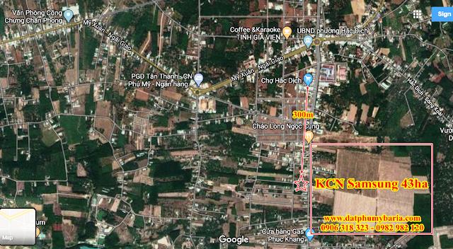 Hình ảnh Vị trí - Khoảng cách Đất với Chợ Hắc Dịch và KCN Samsung