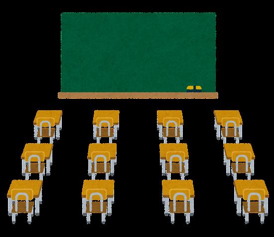 机の間隔を離した教室のイラスト