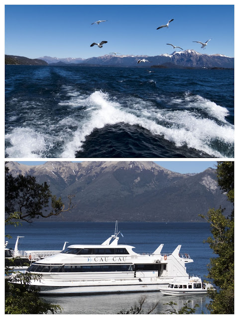 Cau Cau cruise boat and trailing seagulls near Bariloche Argentina