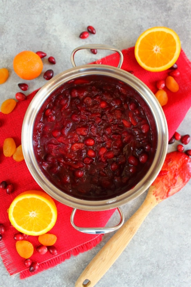 Homemade Cranberry Sauce with Apricots and Orange by Delightful E Made featured at Pieced Pastimes