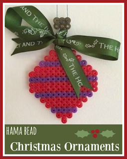 Hama bead and ribbon Christmas ornaments