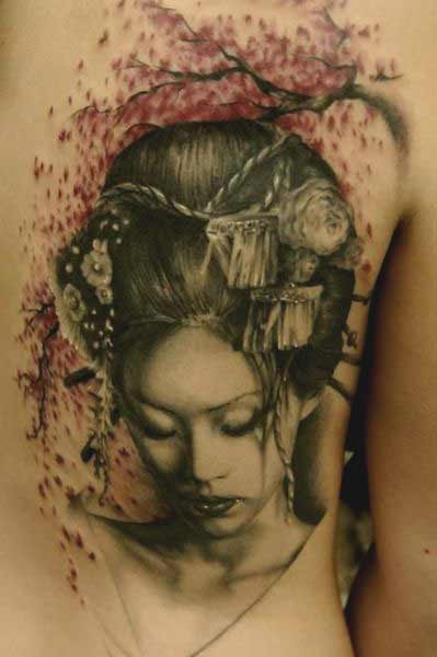geisha back tattoo