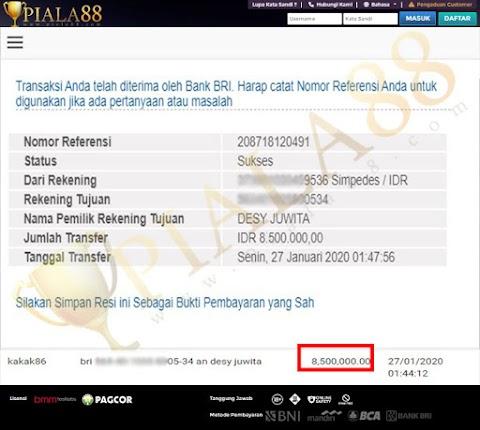 Selamat Kepada Member Setia PIALA88 Withdraw RP 8.500.000