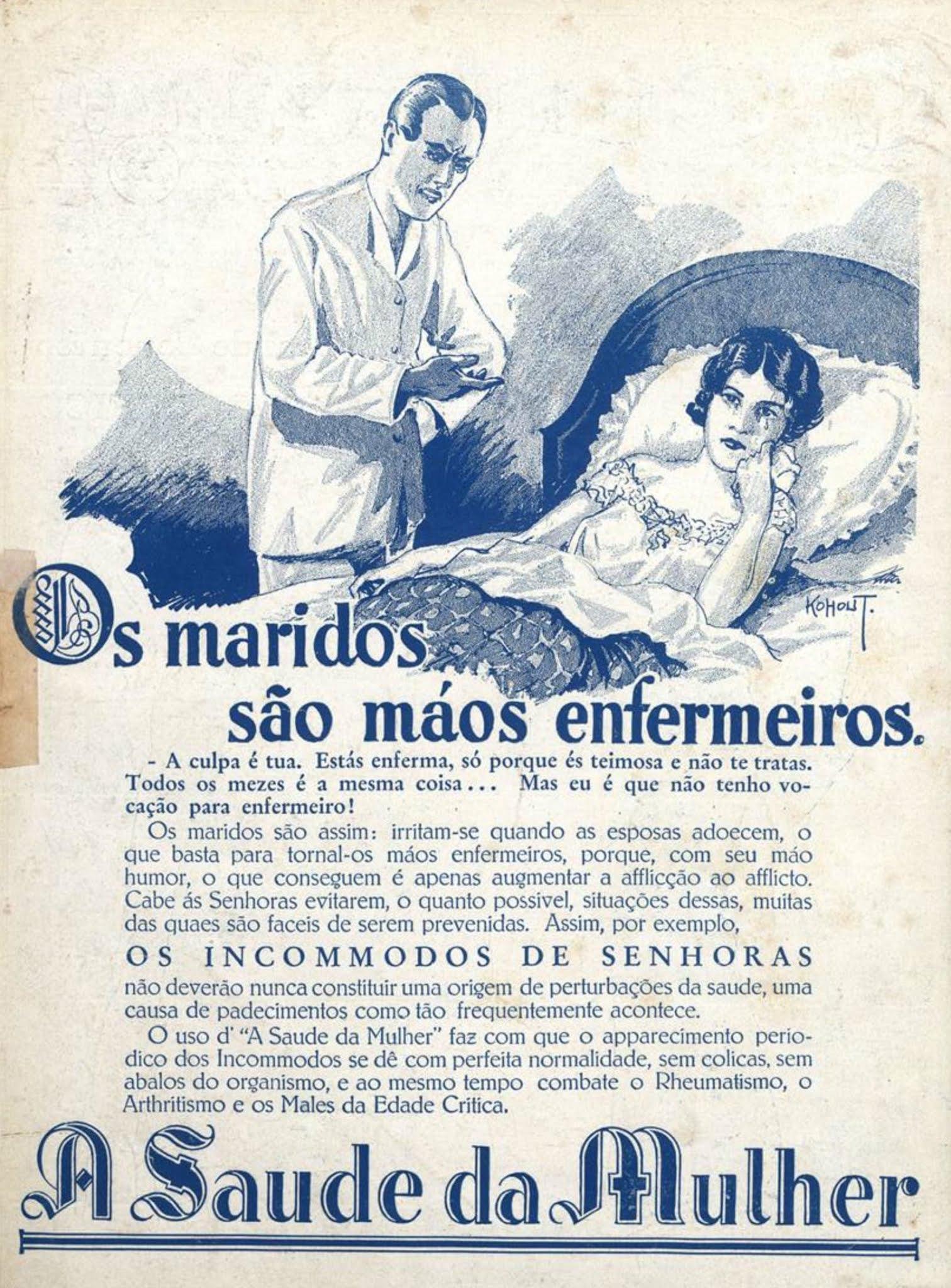 Anúncio antigo do medicamento Saúde da Mulher veiculado em 1931