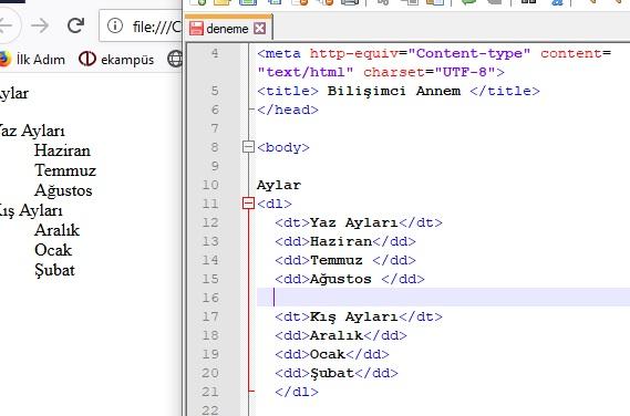 html kodu ile liste oluşturma
