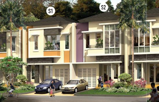 tampak depan rumah minimalis ukuran 7x18 meter 3 kamar tidur 2 lantai
