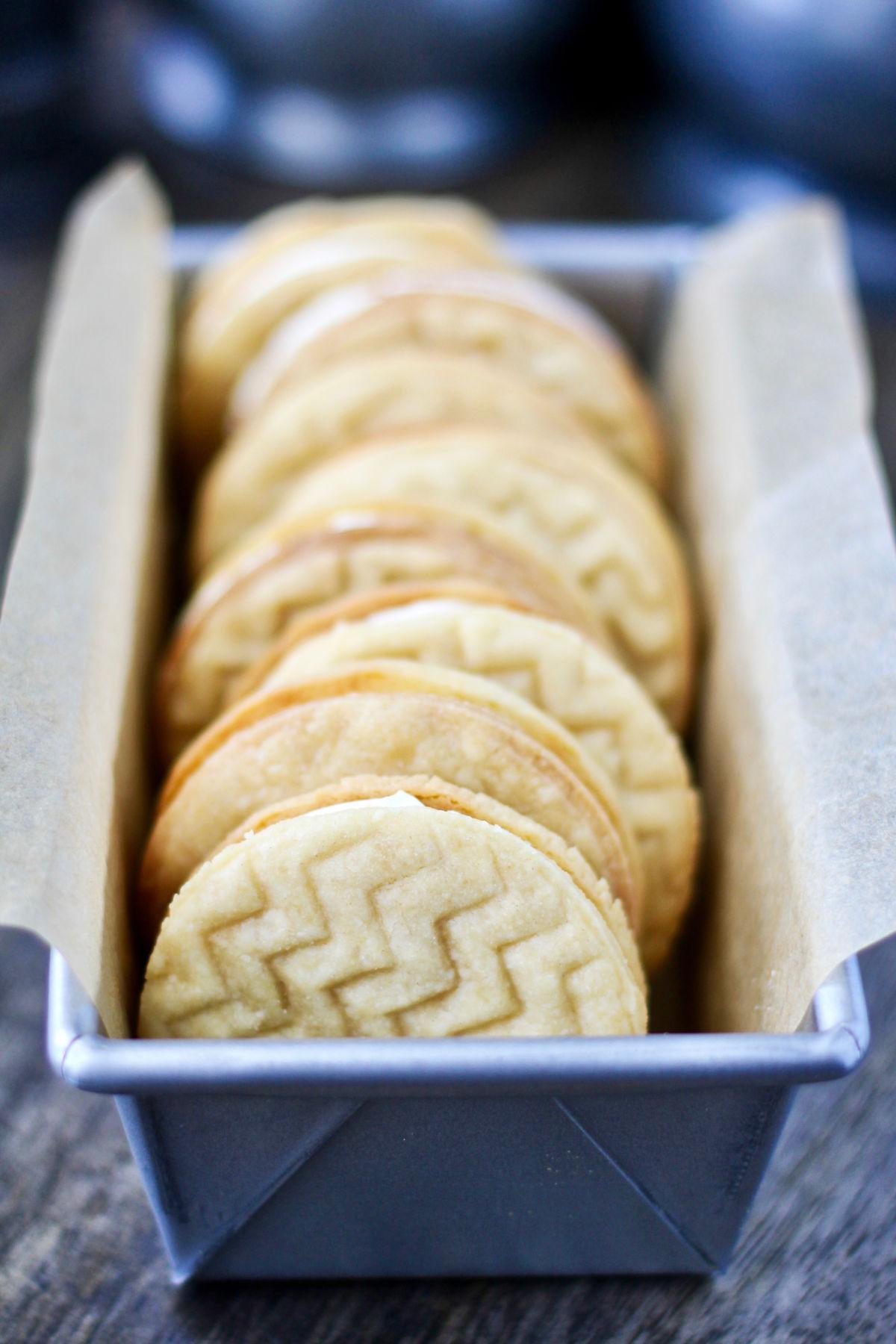 Custard Cream Sandwich Cookies in a pan.