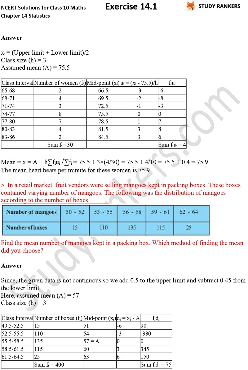 NCERT Solutions for Class 10 Maths Chapter 14 Statistics Exercise 14.1 Part 3
