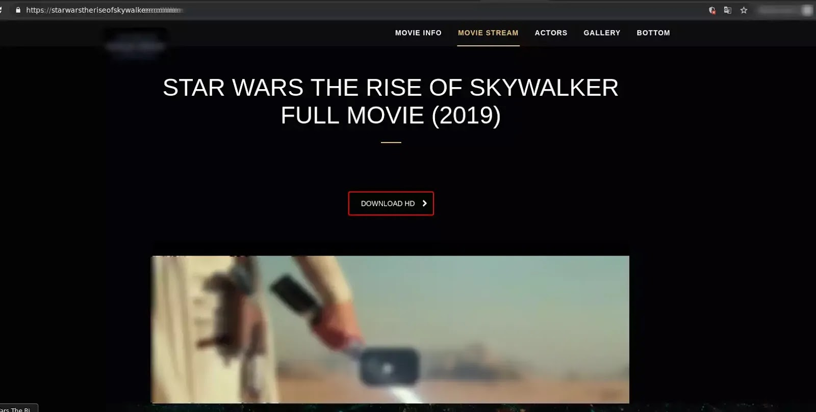 Screenshot of a phishing website